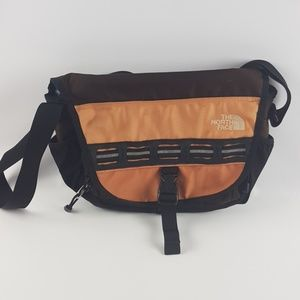 The north face brown orange little satchel purse